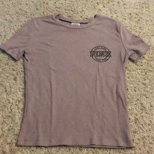 PINK tan tshirt w/ logo in corner